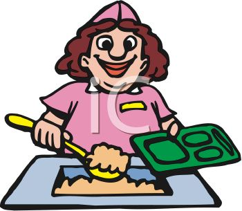 Funny Cartoon of a Lunch Lady Putting Food on a School Lunch Tray