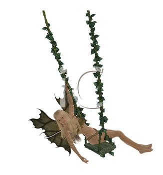 Winged Faerie on a Swing Decorated with Leaves