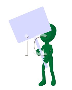 Green Alien Holding a Blank Sign