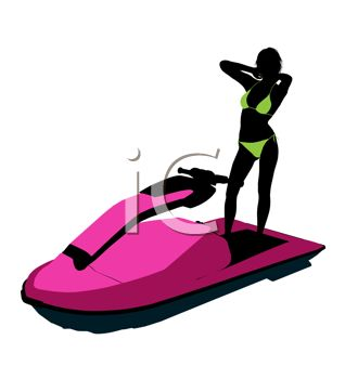 Swimsuit Model Silhouette on a Jet Ski