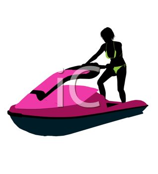 Art Image: Silhouette of a Swimsuit Model in a Bikini on a Jet Ski