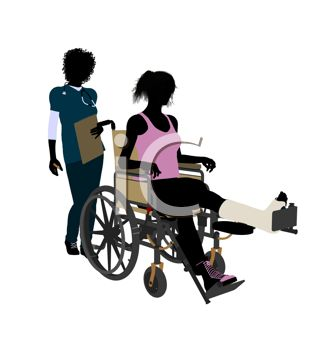 Silhouette of a Female Athlete with an Injury in a Wheelchair with a Nurse