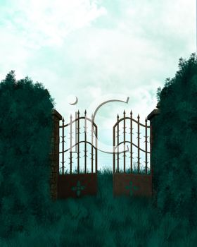 Gates Leading Into a Garden or Cemetery