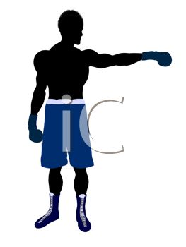 Silhouette of a Boxer Holding Out One Arm