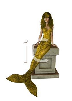 Beautiful Mermaid with a Gold Tail Sitting on a Marble Pillar