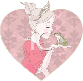 Fairy princess kissing a frog or toad to turn him back into a prince