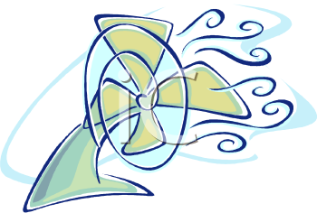 Stylized Electric Fan Blowing Cool Air Around