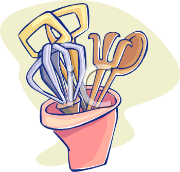 cooking utensils in a container royalty free clip art picture rh clipartguide com cooking utensils clipart free cooking utensils clipart black and white