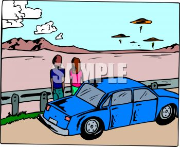 Couple Watching UFO Spaceships Hovering in the Desert