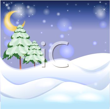 "This ""snowy hills and falling snowflakes background"" clipart image can be"