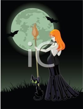 Sexy Redheaded Witch with Her Cat Standing Under a Full Moon