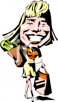 Caricature of a Woman Carrying Grocery Bags