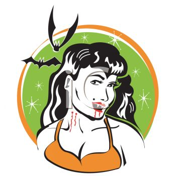 Retro Halloween Vampire Woman with Bats