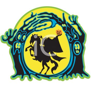 Halloween Graphic of the Headless Horseman Holding His Head