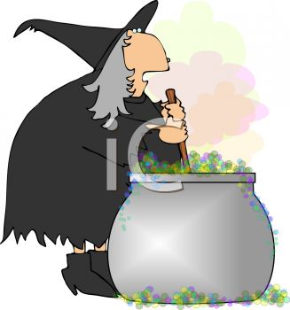 Fat Halloween Witch Stirring a Cauldron