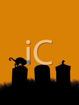 Halloween Graphic of a Cat Walking Across Gravestones