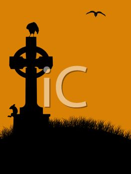 Halloween Background of a Raven on a Tombstone in a Graveyard