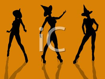 Halloween Background of Sexy Naked Witches