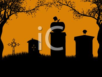 Halloween Background of Ravens on Headstones in a Graveyard