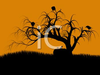 Halloween Background of Ravens in a Dead Tree