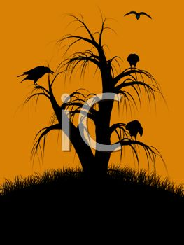 Halloween Background of Crows in a Dead Tree