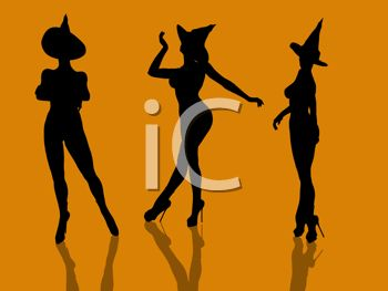Halloween Background of Nude Witches in Sexy Poses