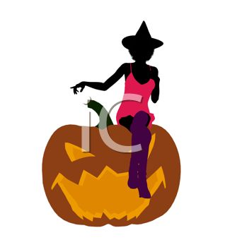 Sexy Witch Silhouette Sitting on a Jack O Lantern