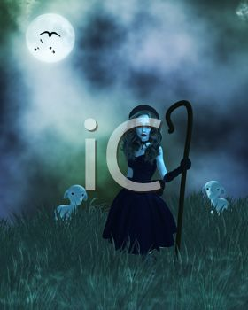 Creepy Little Bo Peep in a Foggy Field for Halloween Background