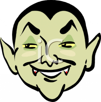 "This ""grinning cartoon vampire with blood on his fangs"" clip art image is"