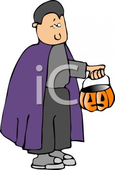 Cartoon of a Boy Dressed Up Like Count Dracula for Halloween
