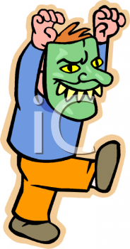 Cartoon of a Boy Wearing a Monster Mask for Halloween