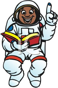 Female black African American astronaut reading a book in space