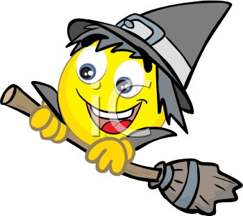 Smiley Character Dressed Up Like a Witch for Halloween