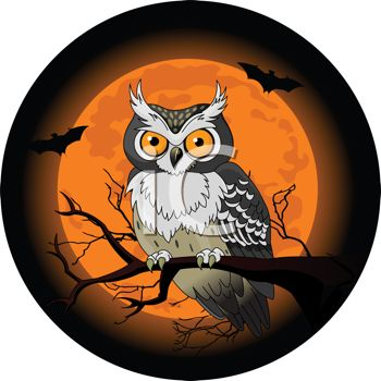 Owl in a tree on Halloween with a full moon and vampire bats