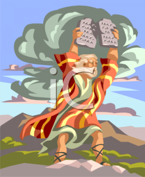 Moses Holding Up the Ten Commandment Tablets