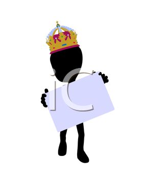 Alien Figure Wearing a Crown Holding a Blank Sign