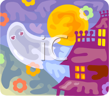 Halloween Ghost Flying Out of a Haunted House