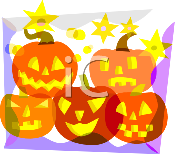 Pile of Halloween Pumpkins with Stars