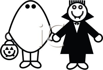 Kids wearing their Halloween costumes - a ghost and a vampire trick or treating