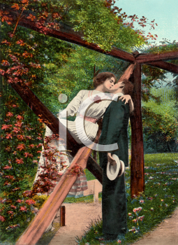 A Victorian woman sitting on an arbor kissing a man with a hat in his hands