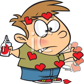 Cartoon of a Boy Making Valentines with a Paper Heart Stuck to His Hand with Glue