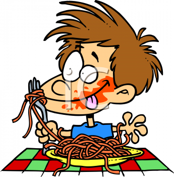 cartoon of a boy eating spaghetti with sauce all over his face rh clipartguide com clipart spaghetti bolognaise spaghetti clipart black and white