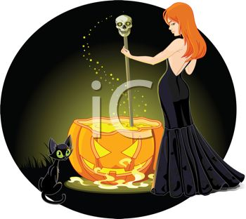 Sexy Red Haired Witch Stirring Her Cauldron with Her Black Cat Sitting Nearby
