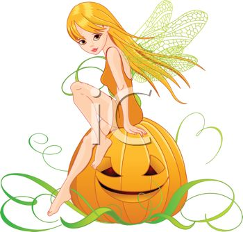 Winged Faerie Sitting on a Jack O' Lantern