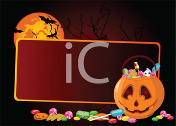Halloween Background with a Blank Sign and a Pumpkin Full of Trick or Treat Candy