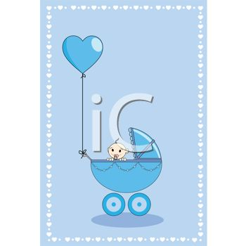 Baby Shower Design of a Baby Boy in a Carriage