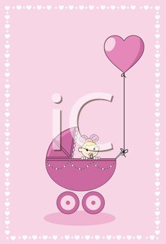 Baby Shower Design of a Baby Girl in a Carriage