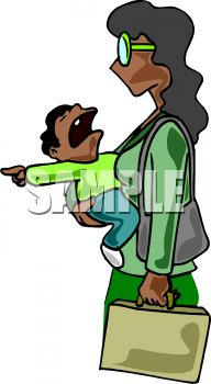 An African American woman carrying her screaming child