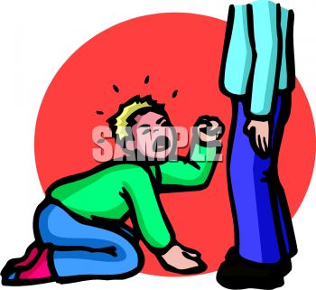 Royalty Free Clip Art Image: A spoiled boy crying at the feet of ...