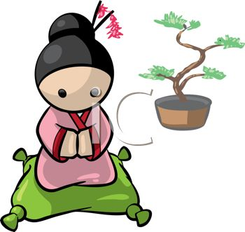 Little Japanese Girl with a Bonsai Tree